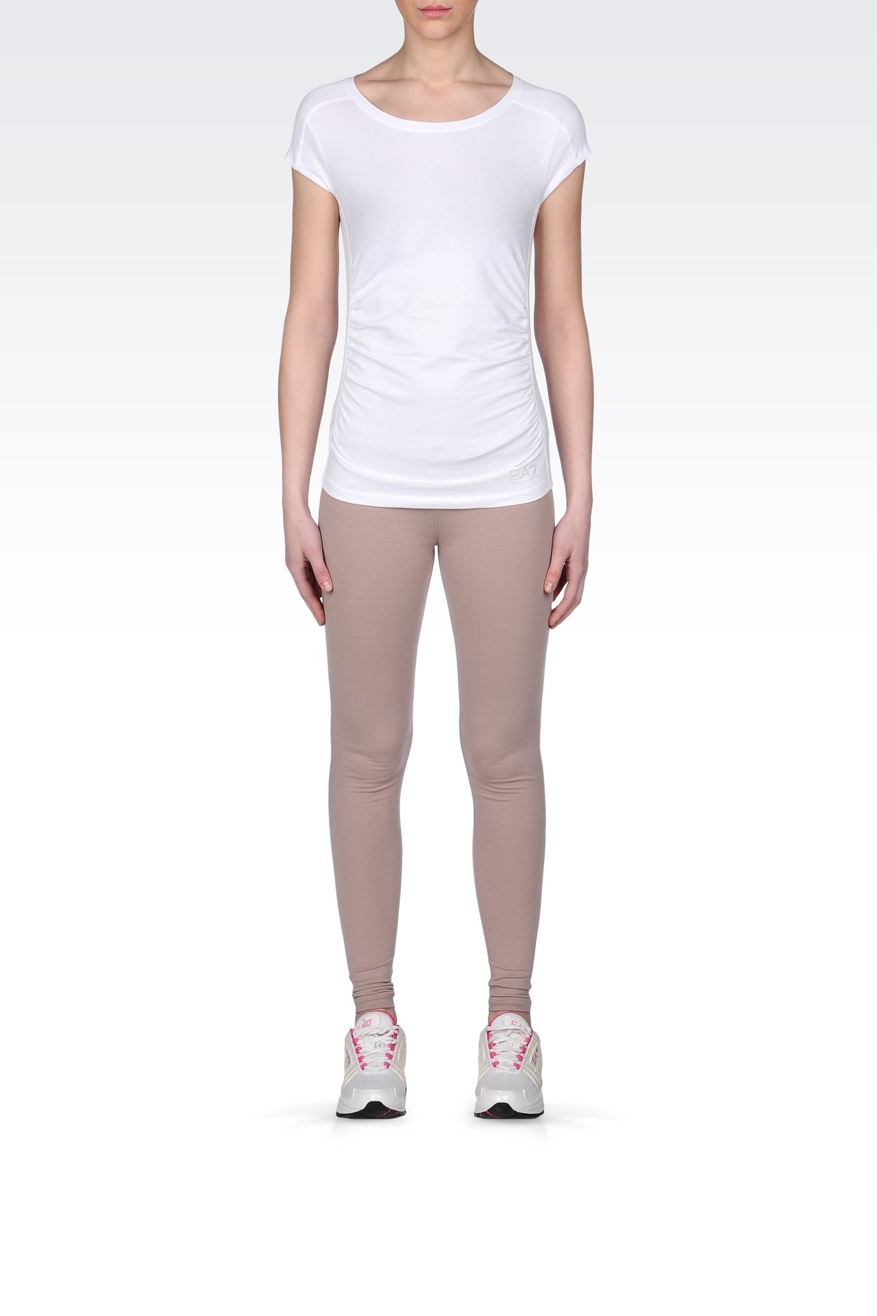 STRETCH COTTON T-SHIRT WITH LOGO: Short sleeved t-shirts Women by Armani - 0