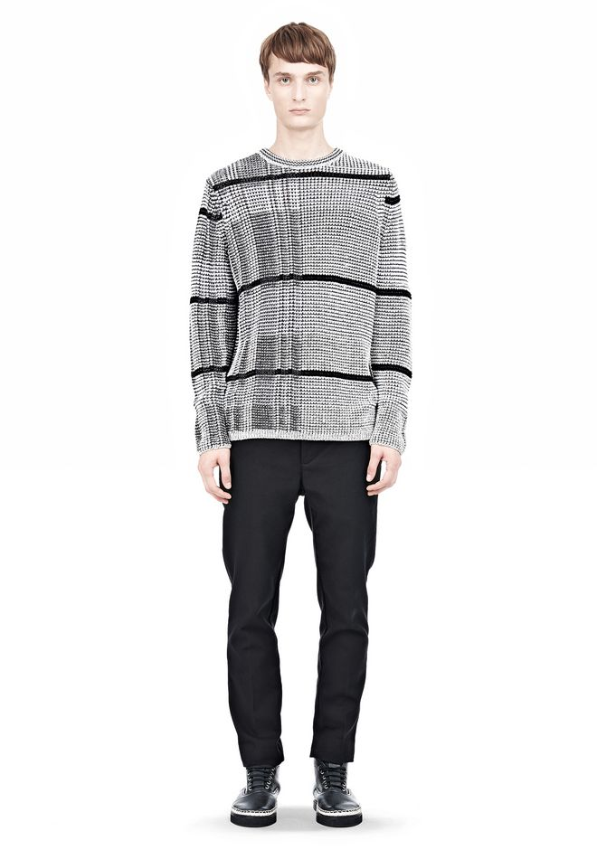 ALEXANDER WANG CHECKERED TUCK JACQUARD PULLOVER