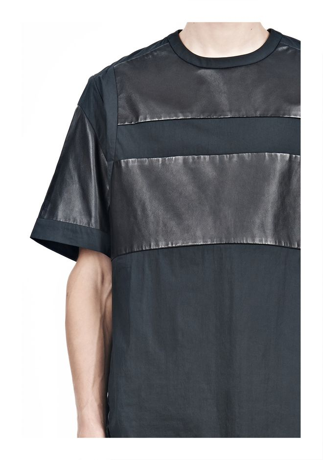 ALEXANDER WANG LEATHER PATCHWORK SHORT SLEEVED TEE Short sleeve t-shirt  12_n_a