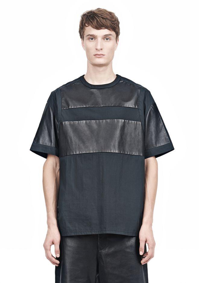 ALEXANDER WANG LEATHER PATCHWORK SHORT SLEEVED TEE Short sleeve t-shirt  12_n_e