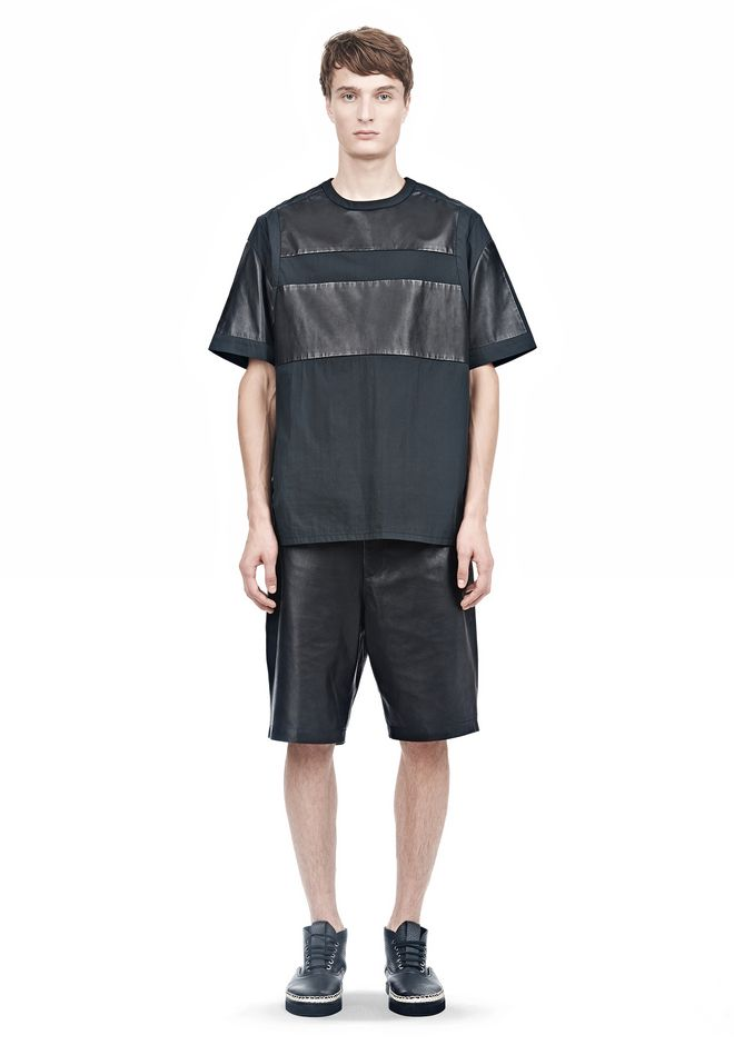 ALEXANDER WANG LEATHER PATCHWORK SHORT SLEEVED TEE