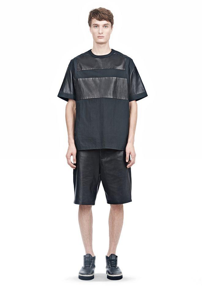 ALEXANDER WANG LEATHER PATCHWORK SHORT SLEEVED TEE Short sleeve t-shirt  12_n_f