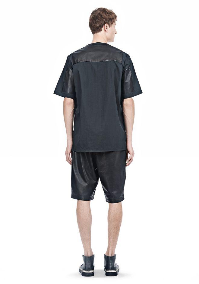 ALEXANDER WANG LEATHER PATCHWORK SHORT SLEEVED TEE Short sleeve t-shirt  12_n_r