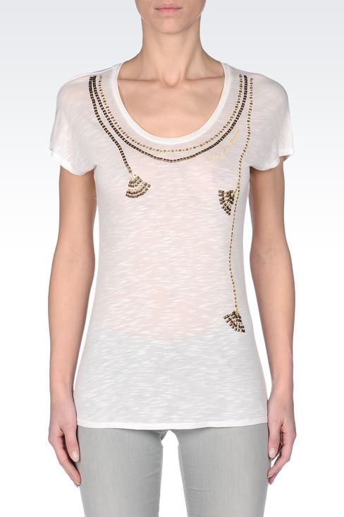 SEQUINED JERSEY T-SHIRT: Print t-shirts Women by Armani - 2