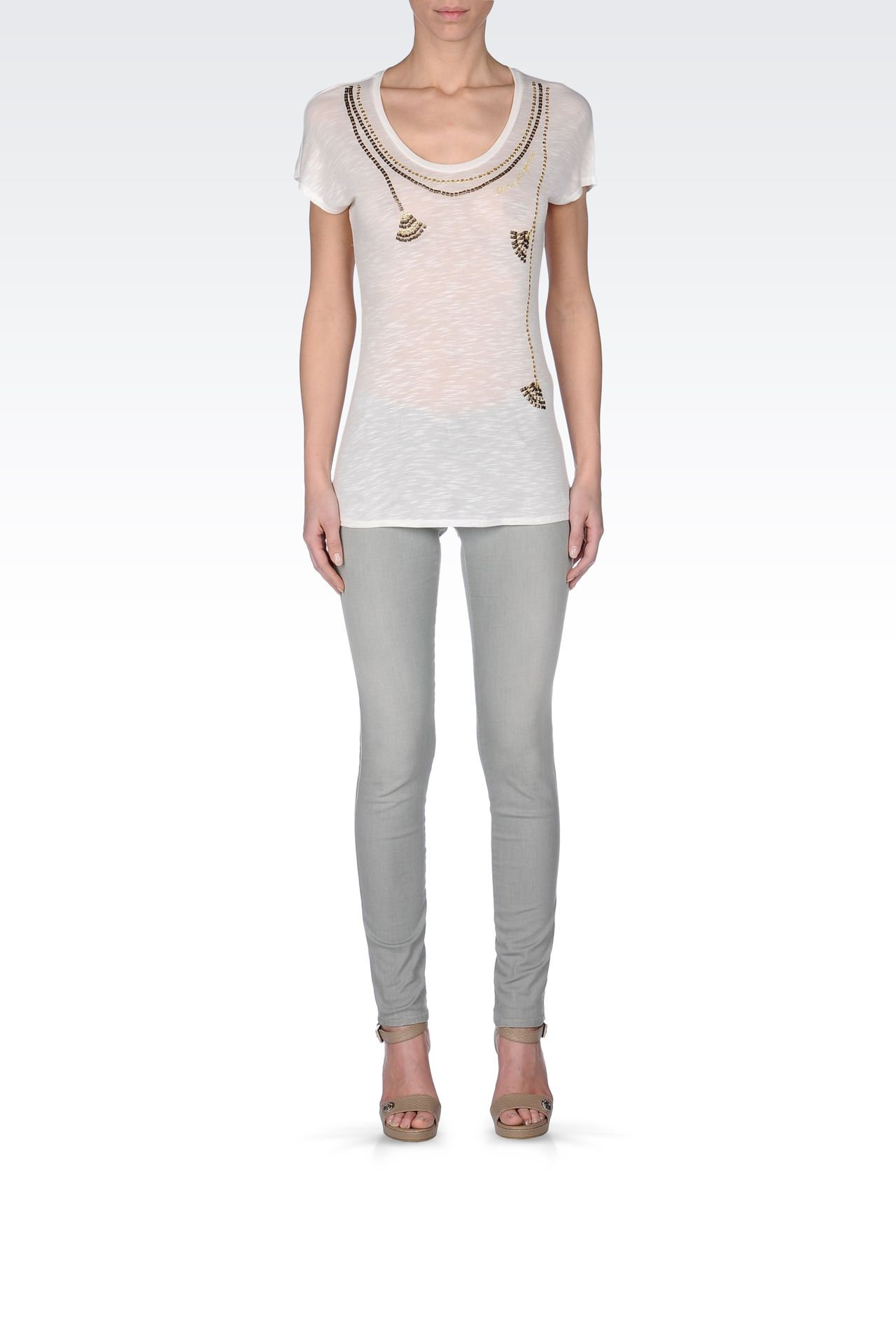 SEQUINED JERSEY T-SHIRT: Print t-shirts Women by Armani - 0