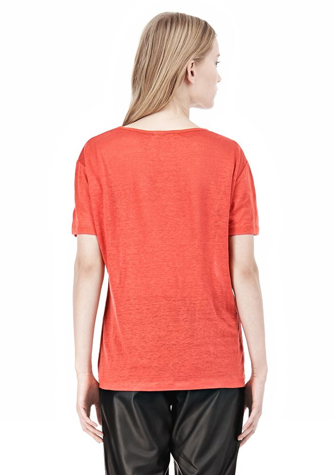 T by ALEXANDER WANG LINEN SILK CREWNECK SHORT SLEEVE TEE Short sleeve t-shirt Adult 12_n_d