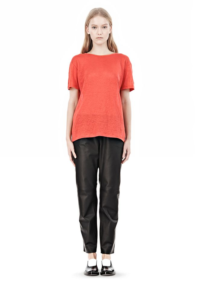 T by ALEXANDER WANG LINEN SILK CREWNECK SHORT SLEEVE TEE