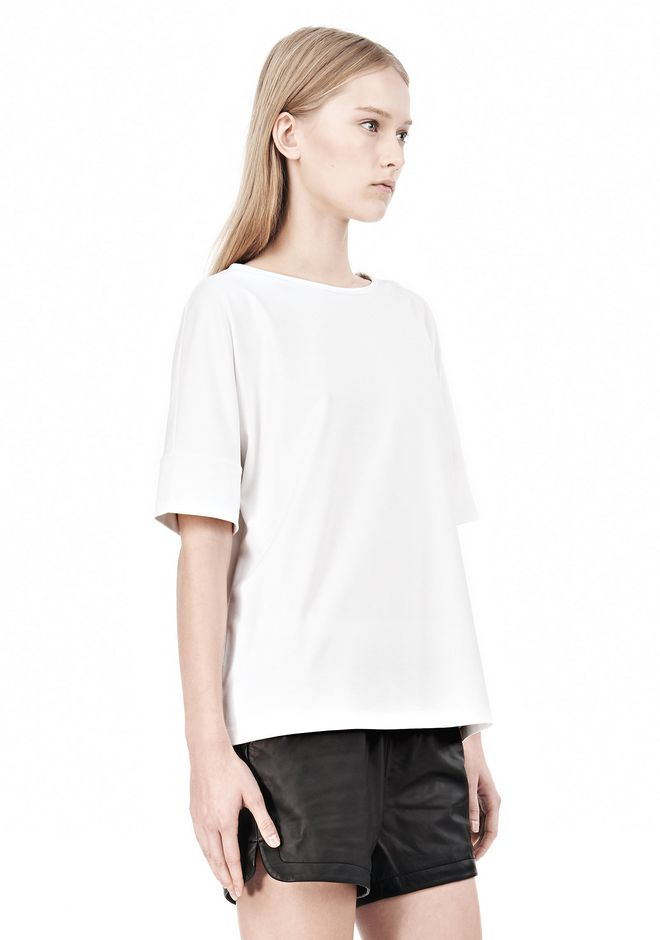 T by ALEXANDER WANG LUX PONTE DOLMAN CREWNECK SHORT SLEEVE TEE Short sleeve t-shirt Adult 12_n_a