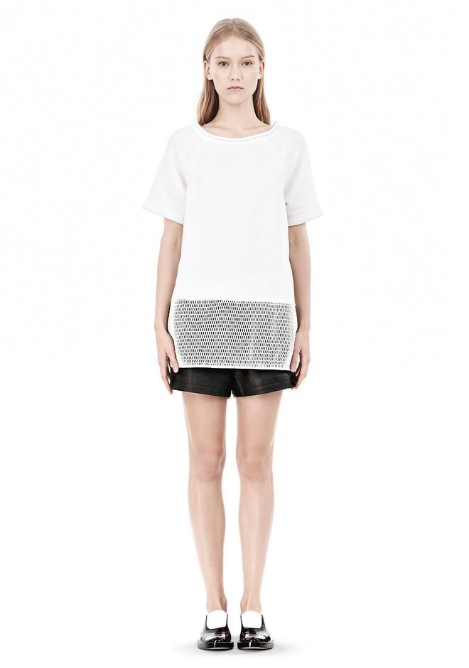 T by ALEXANDER WANG FRENCH TERRY SHORT SLEEVE TEE WITH MESH SWEATER Adult 12_n_f