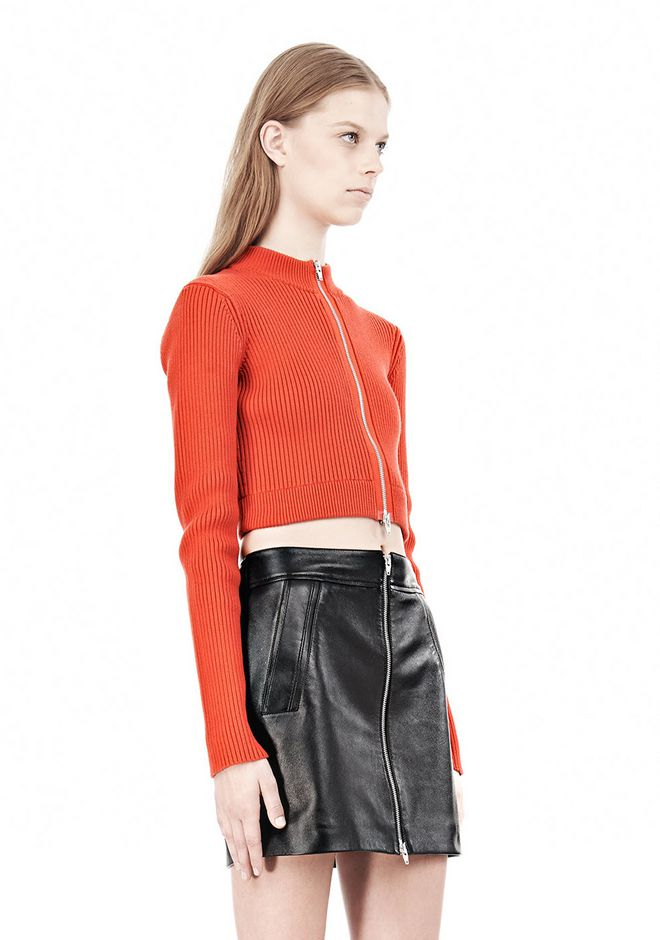 T by ALEXANDER WANG COTTON RIB TWO-WAY ZIP CROPPED CARDIGAN CARDIGAN Adult 12_n_a