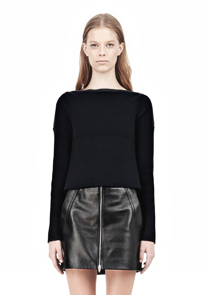 T by ALEXANDER WANG COTTON RIB KNIT BOATNECK PULLOVER Crewneck Adult 12_n_e
