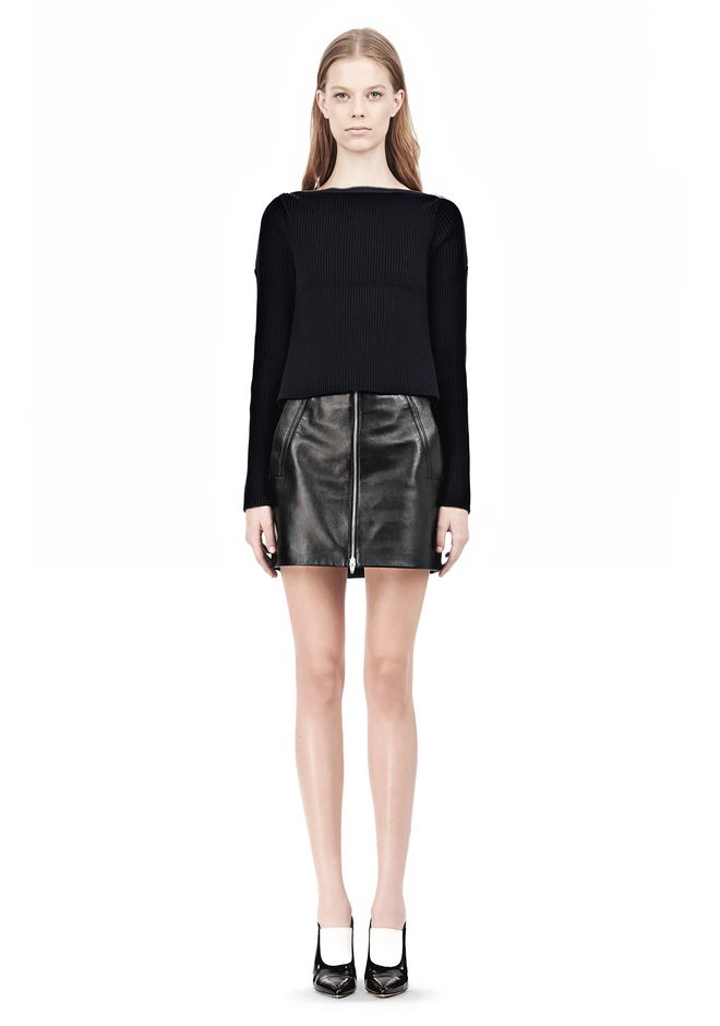 T by ALEXANDER WANG COTTON RIB KNIT BOATNECK PULLOVER