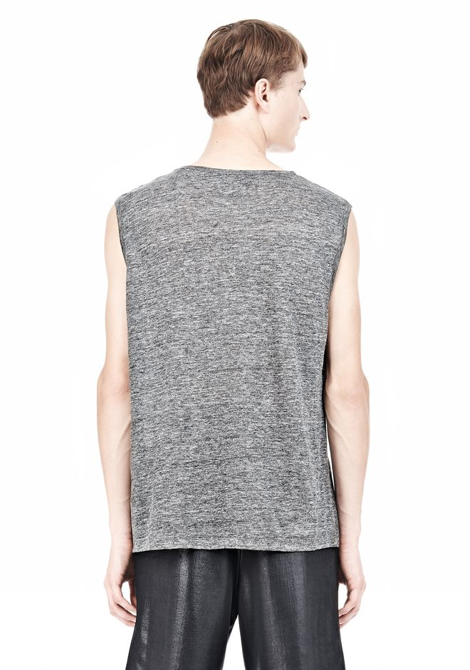 T by ALEXANDER WANG HEATHER LINEN MUSCLE TANK TEE Adult 12_n_d