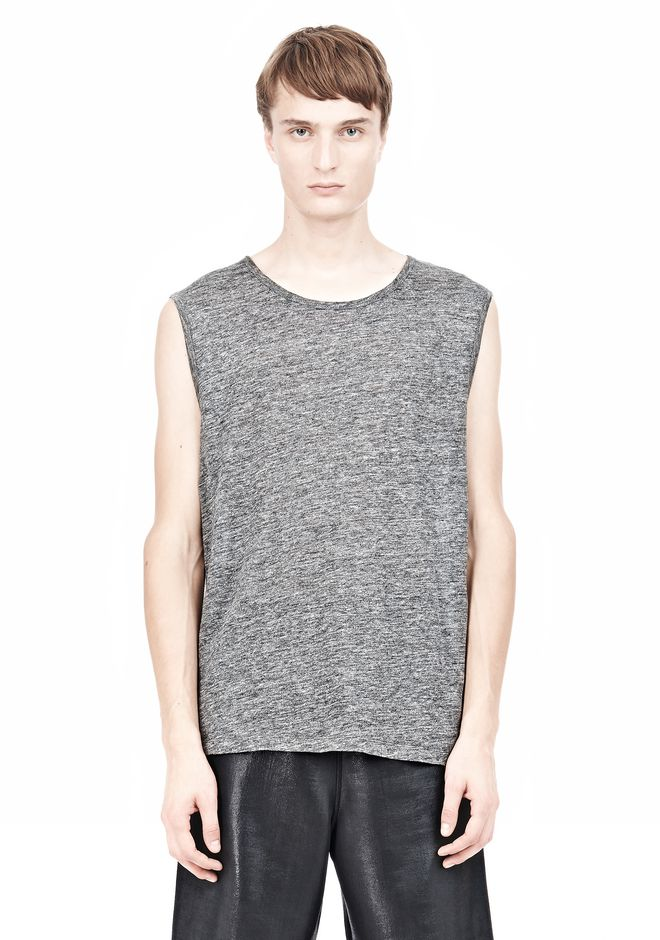 T by ALEXANDER WANG HEATHER LINEN MUSCLE TANK TEE Adult 12_n_e