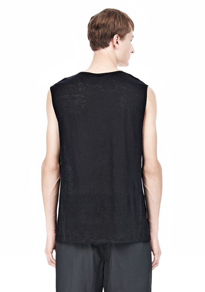 T by ALEXANDER WANG LINEN SILK MUSCLE TANK TEE Adult 12_n_d
