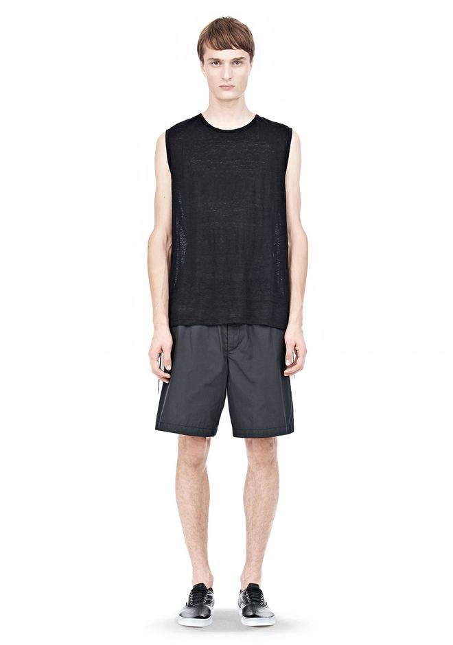 T by ALEXANDER WANG LINEN SILK MUSCLE TANK TEE Adult 12_n_f