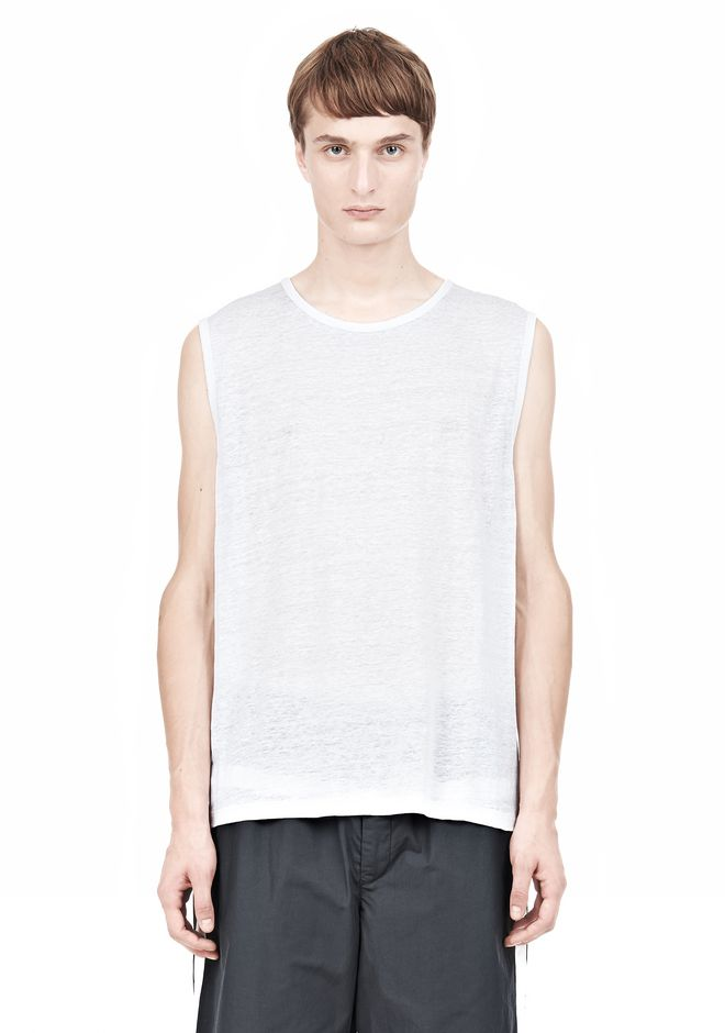 T by ALEXANDER WANG LINEN SILK MUSCLE TANK TEE Adult 12_n_e