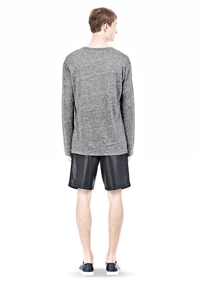 T by ALEXANDER WANG HEATHER LINEN LONG SLEEVETEE Crewneck Adult 12_n_r