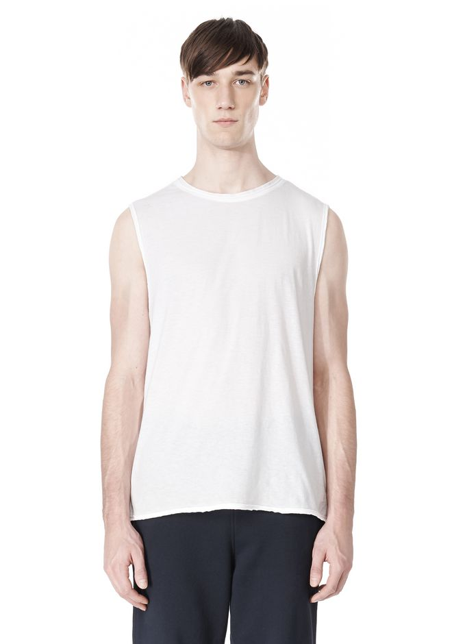 T by ALEXANDER WANG PIGMENT DYED COTTON JERSEY SILK NECK TRIM MUSCLE T TOP Adult 12_n_e