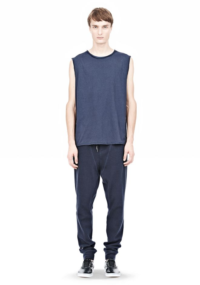T by ALEXANDER WANG PIGMENT DYED COTTON JERSEY SILK NECK TRIM MUSCLE T