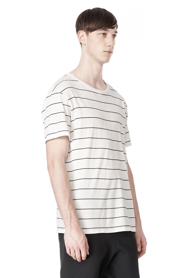 T by ALEXANDER WANG LINEN STRIPE SHORT SLEEVE TEE TOP Adult 12_n_a