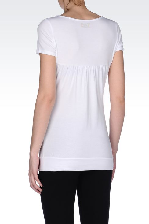 T-SHIRT IN COTTON MODAL WITH LOGO: Short sleeved t-shirts Women by Armani - 3