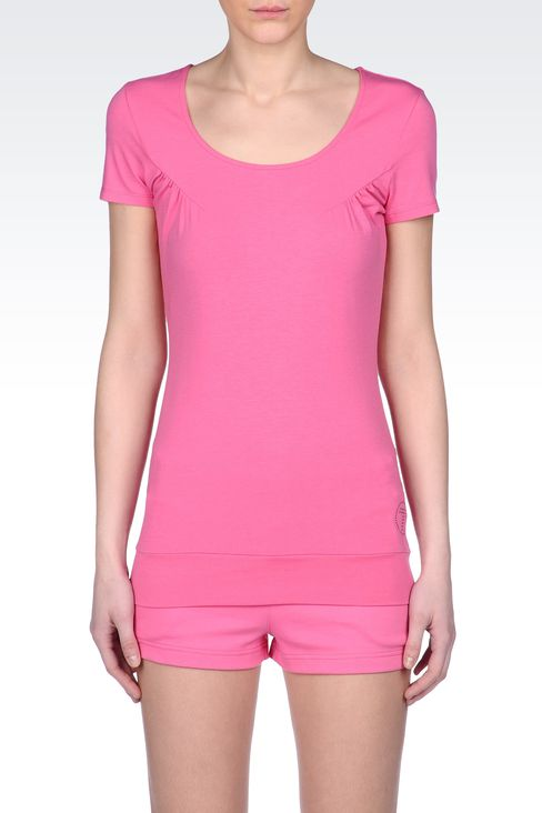 T-SHIRT IN COTTON MODAL WITH LOGO: Short sleeved t-shirts Women by Armani - 2