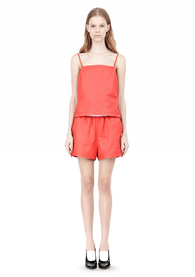 T by ALEXANDER WANG LEATHER SQUARE NECK CAMISOLE TOP Adult 12_n_f