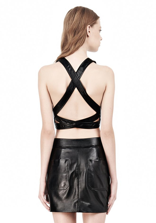 T by ALEXANDER WANG LEATHER PINAFORE TWO-WAY ZIP CRISSCROSS BACK TANK TOP Adult 12_n_d