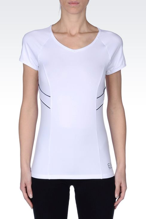 V NECK T-SHIRT IN TECHNICAL FABRIC: Short sleeved t-shirts Women by Armani - 2