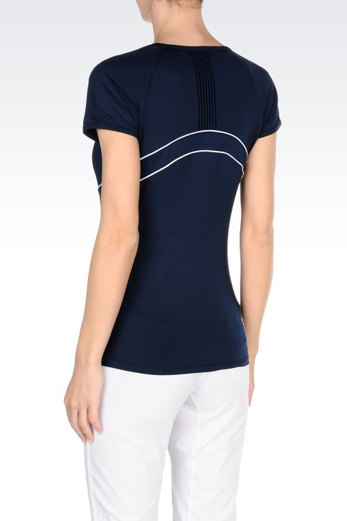 V NECK T-SHIRT IN TECHNICAL FABRIC: Short sleeved t-shirts Women by Armani - 3