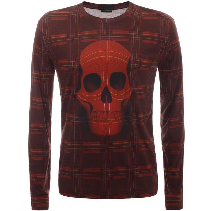 Alexander McQueen, Check Skull Long Sleeve T-Shirt