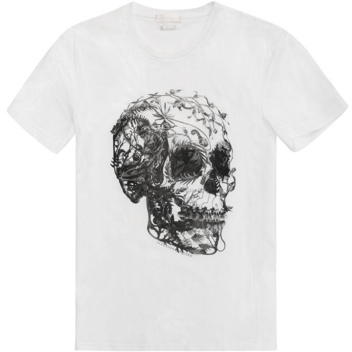 floral skull print t shirt alexander mcqueen skull t