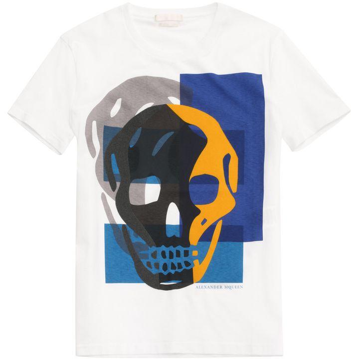 Alexander McQueen, Flocked Skull Print T-Shirt