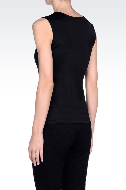 TOP IN VISCOSE WITH JEWEL BUTTONS: Appliqué tops Women by Armani - 4