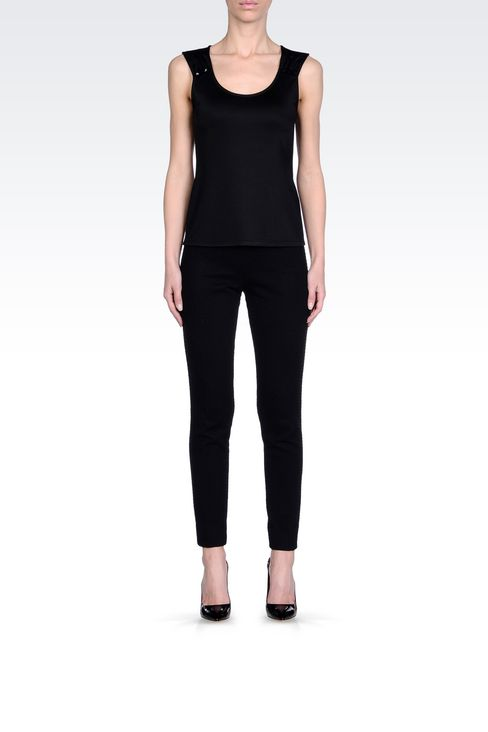 TOP IN VISCOSE WITH JEWEL BUTTONS: Appliqué tops Women by Armani - 2