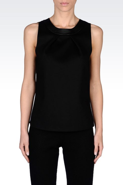 TOP IN NEOPRENE WITH FAUX LEATHER DETAIL: Sleeveless tops Women by Armani - 3