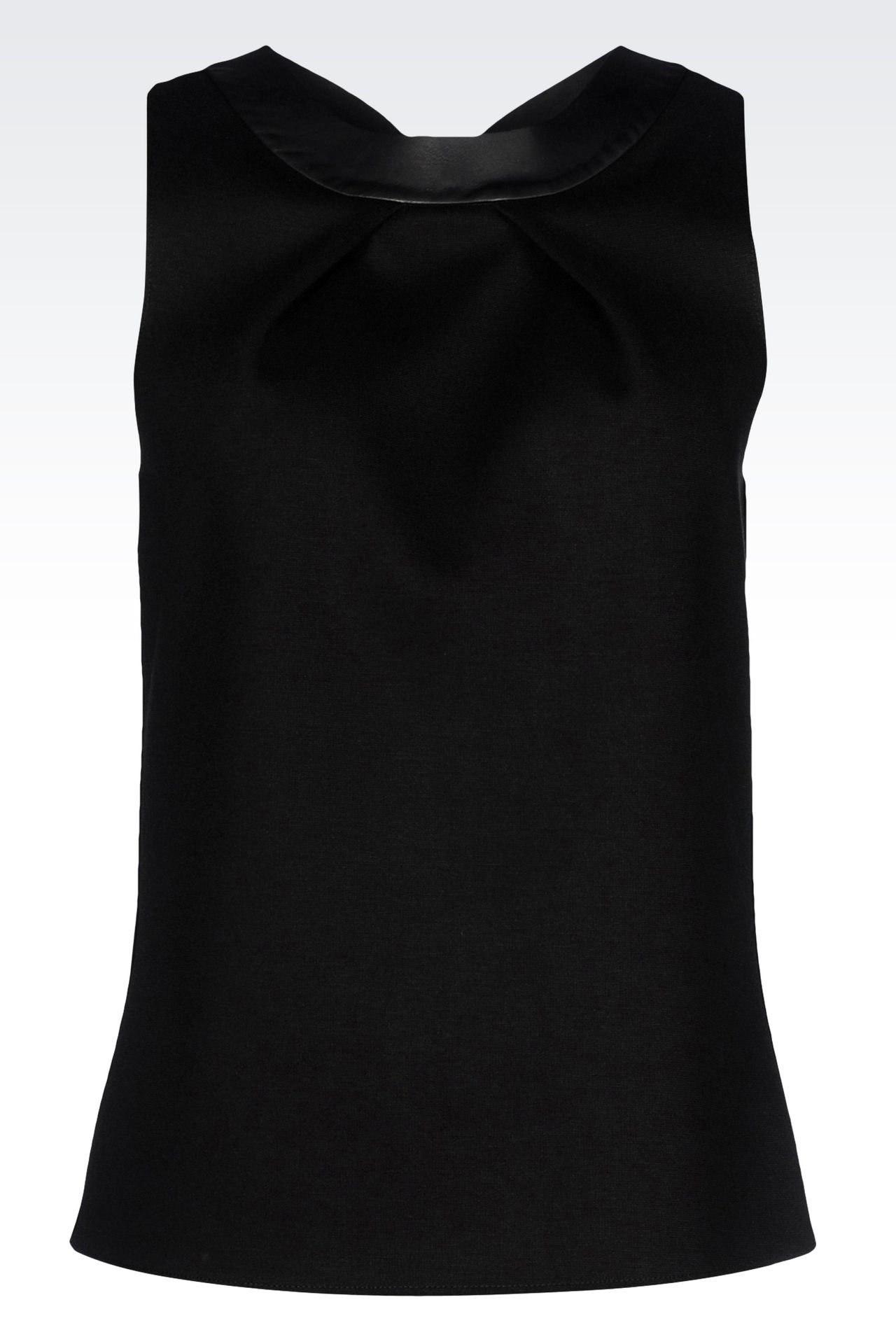 TOP IN NEOPRENE WITH FAUX LEATHER DETAIL: Sleeveless tops Women by Armani - 0