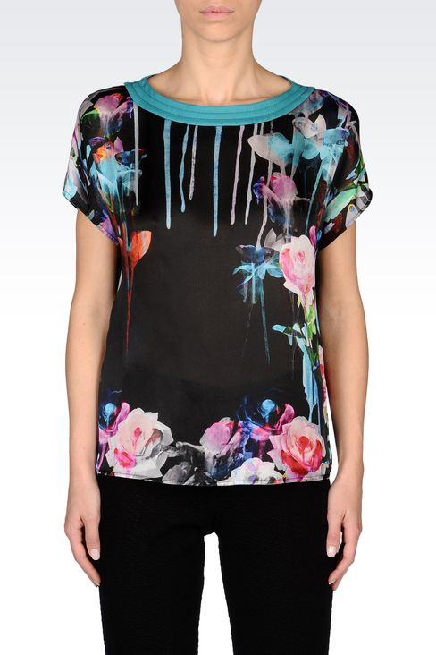 TOP IN PRINTED SILK: Short-sleeved tops Women by Armani - 3