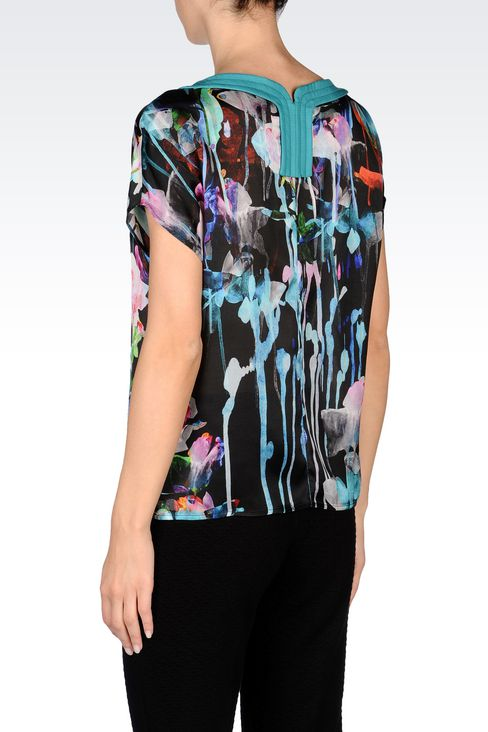 TOP IN PRINTED SILK: Short-sleeved tops Women by Armani - 4