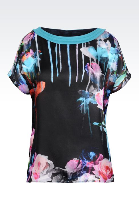 TOP IN PRINTED SILK: Short-sleeved tops Women by Armani - 1