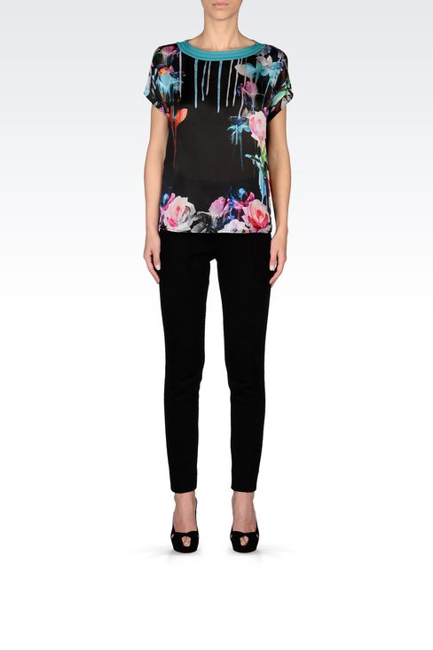TOP IN PRINTED SILK: Short-sleeved tops Women by Armani - 2