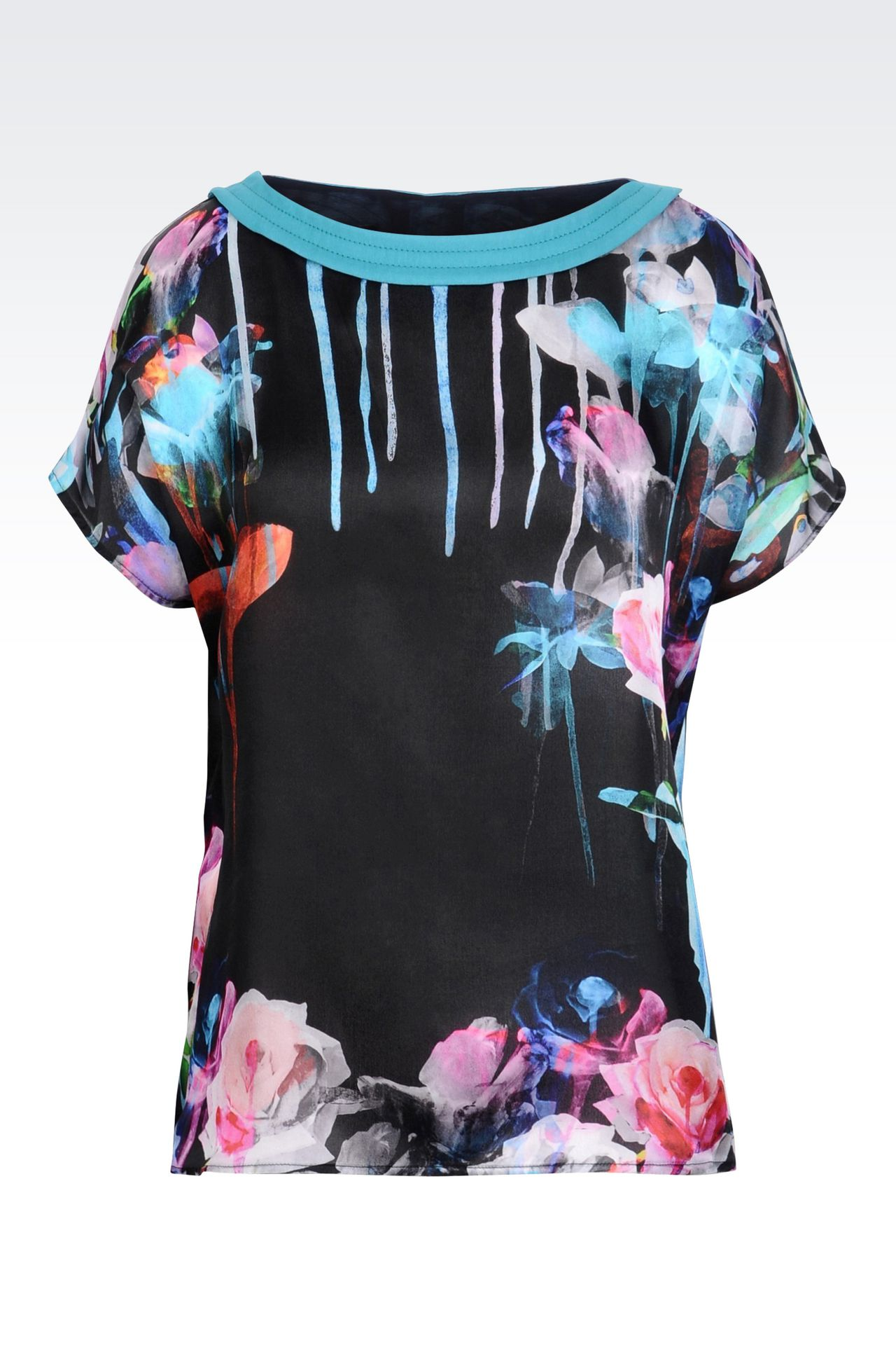 TOP IN PRINTED SILK: Short-sleeved tops Women by Armani - 0