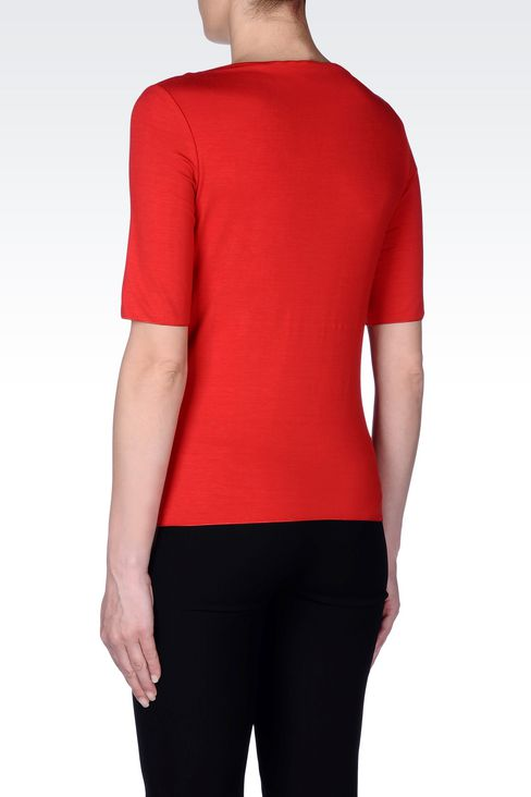 T-SHIRT IN STRETCH VISCOSE: Print t-shirts Women by Armani - 4