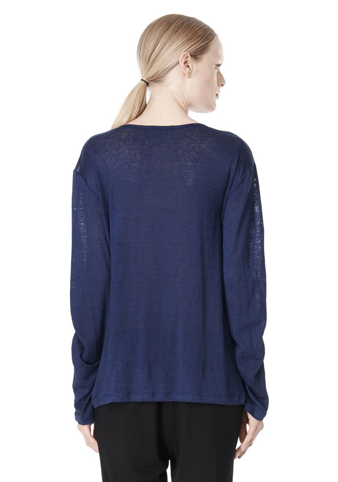 T by ALEXANDER WANG LINEN SILK JERSEY LONG SLEEVE TEE TOP Adult 12_n_d