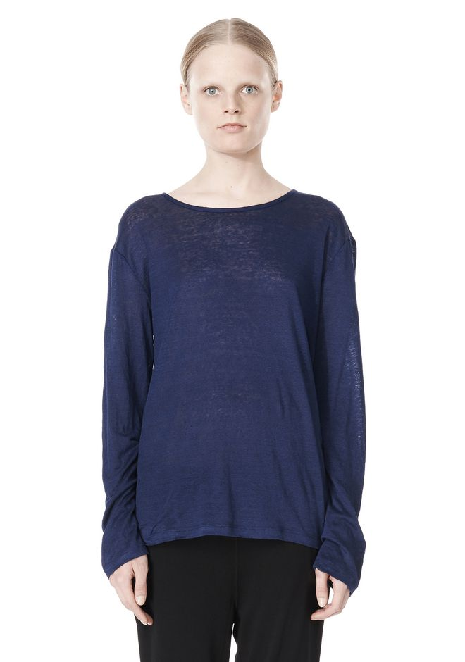 T by ALEXANDER WANG LINEN SILK JERSEY LONG SLEEVE TEE TOP Adult 12_n_e
