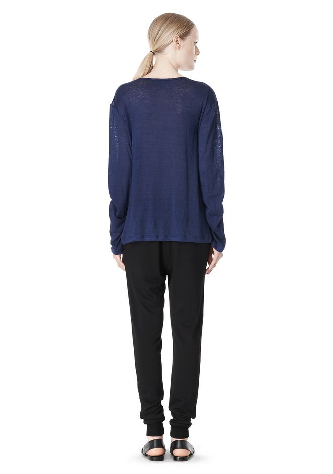 T by ALEXANDER WANG LINEN SILK JERSEY LONG SLEEVE TEE TOP Adult 12_n_r