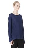 T by ALEXANDER WANG LINEN SILK JERSEY LONG SLEEVE TEE TOP Adult 8_n_a