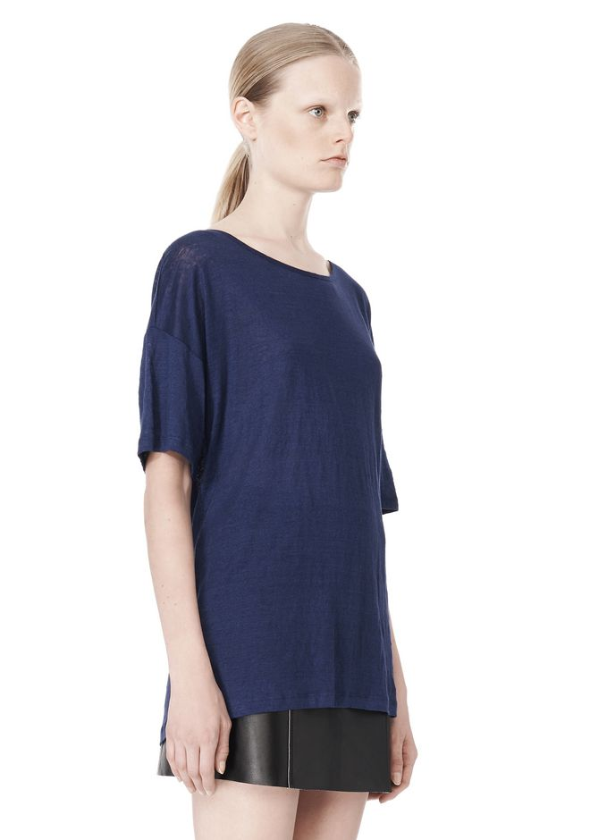 T by ALEXANDER WANG LINEN SILK JERSEY OVERSIZED TEE TOP Adult 12_n_a