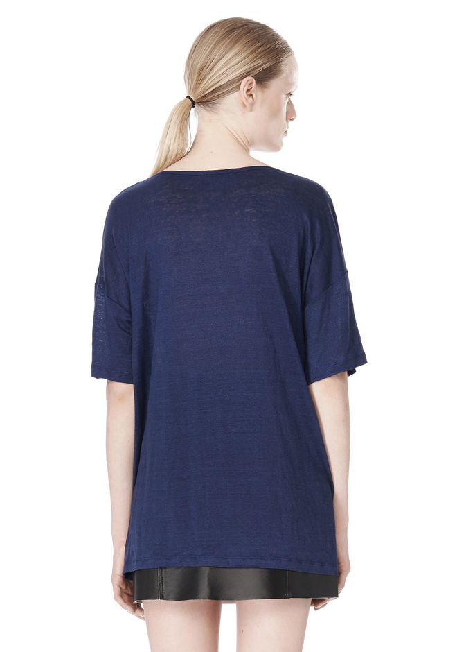 T by ALEXANDER WANG LINEN SILK JERSEY OVERSIZED TEE TOP Adult 12_n_d
